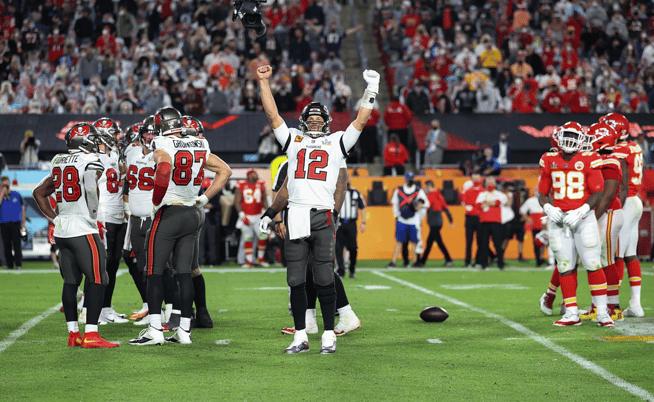 Tom Brady celebrating Super Bowl win in 2021