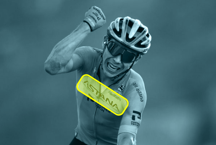 Astana logo placed on the front of the Tour de France cyclist