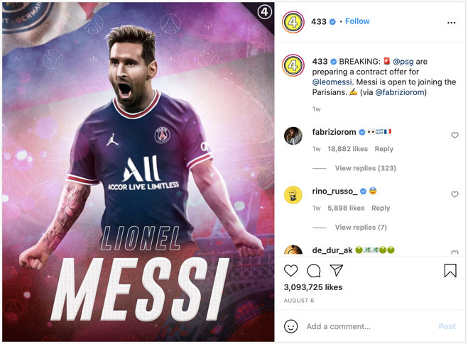 Example of how PSG increased brand awareness on social media using Lionel Messi