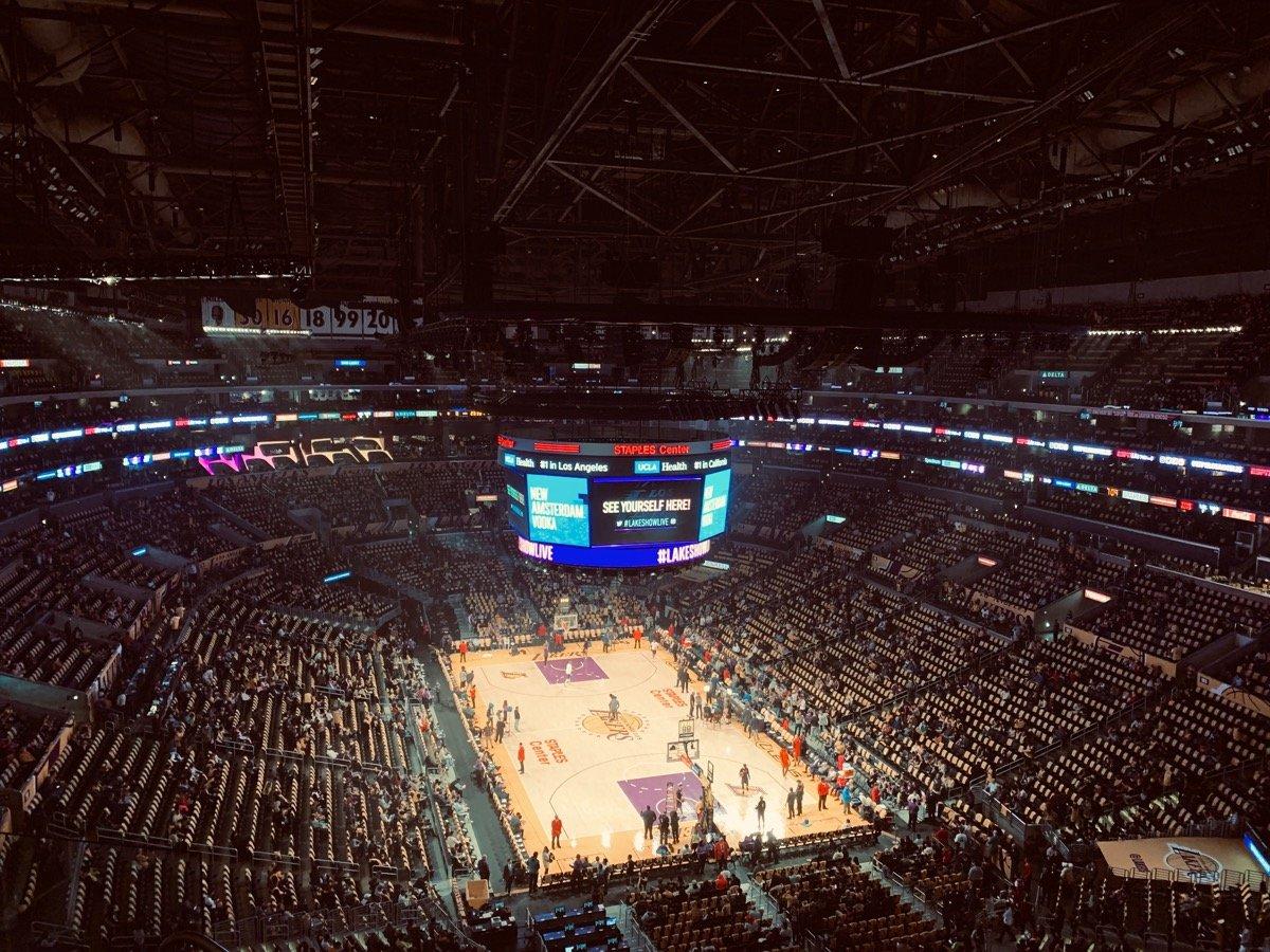 Basketball court with sponsor logos